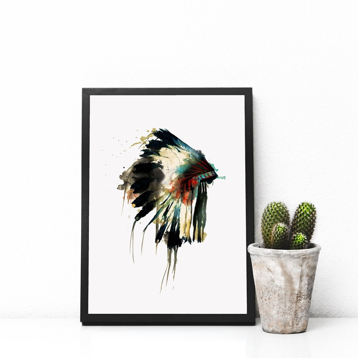 Native Indian American Headdress Art Print Feather Wall Art Wall pertaining to Latest Feather Wall Art