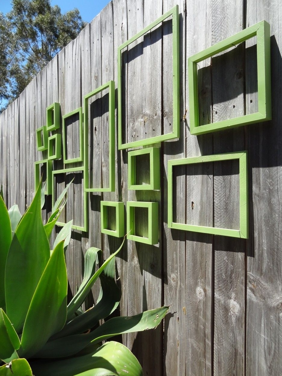 Naturally Outdoor Wall Art Design With Green Square Decoration In Throughout Recent Outdoor Wall Art (View 6 of 15)