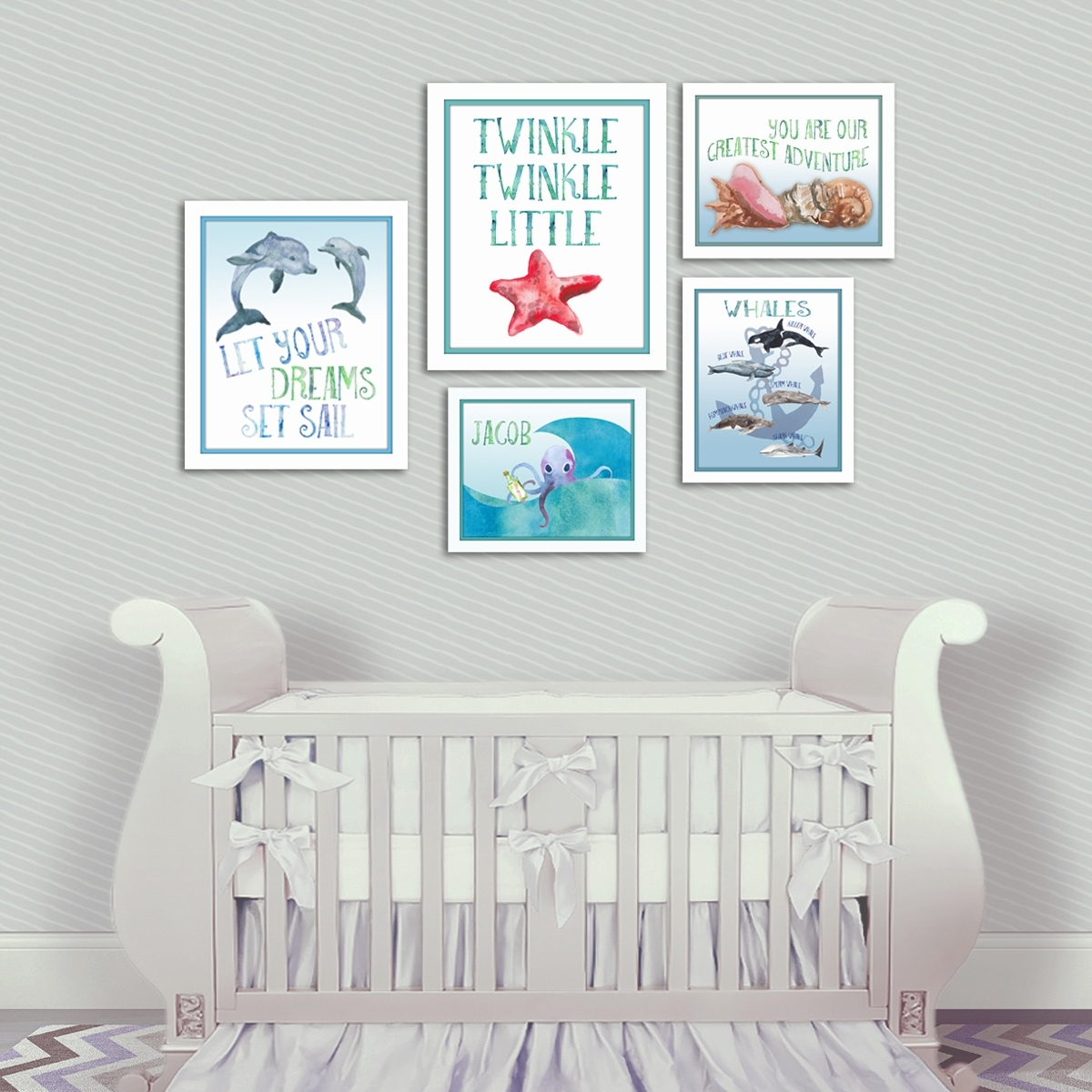 Nautical Nursery Dolphin Wall Art – Artsy Pumpkin With Most Current Baby Room Wall Art (View 18 of 20)