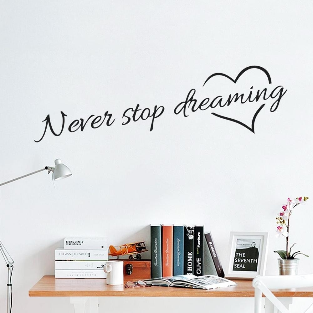 Never Stop Dreaming Inspirational Quotes Wall Art Bedroom Decorative Regarding 2018 Wall Art Quotes (View 12 of 20)