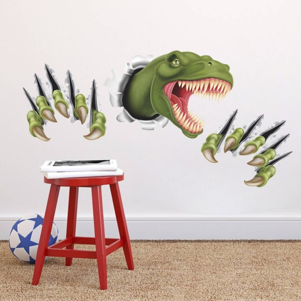 New 3D Stereo Dinosaur Break Through Wall Art Mural Poster Through inside 2017 Dinosaur Wall Art