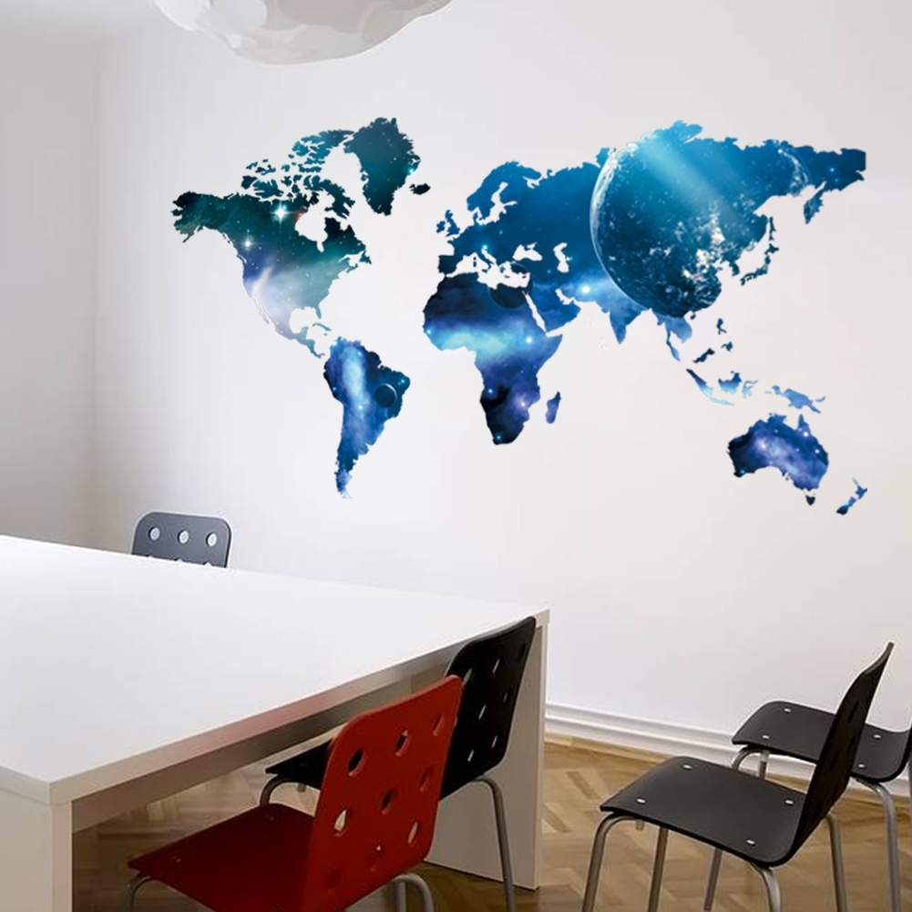 New Arrival Big Global Planet World Map Wall Sticker Wall Art Decal Inside Current Wall Art Stickers World Map (Gallery 1 of 20)
