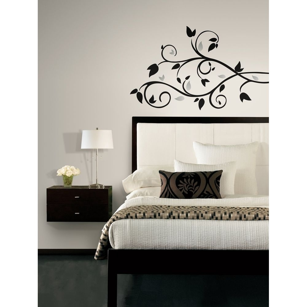 New Black & Silver Tree Branch Wall Decals Leaves Stickers Modern For Newest Stick On Wall Art (View 9 of 20)