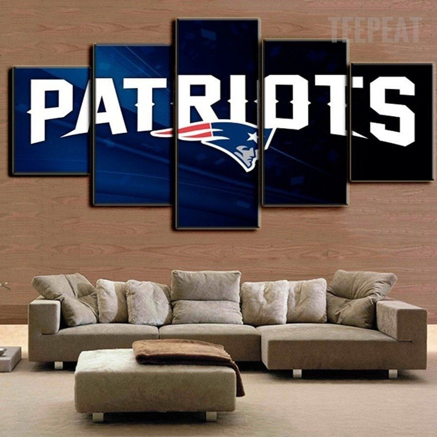 New England Patriots 5 Piece Canvas Painting Design Ideas Of Nfl pertaining to Most Popular Nfl Wall Art