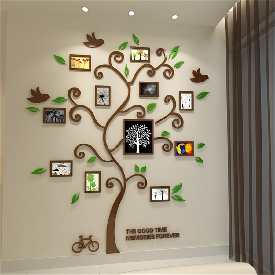 New Family Tree Photo Frame Crystal Acrylic Wall Stickers 3D Three Throughout Best And Newest 3 Dimensional Wall Art (View 15 of 20)