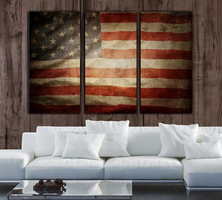 New Vintage American Flag Wall Decor | Decorating Ideas 2018 pertaining to Current Vintage American Flag Wall Art