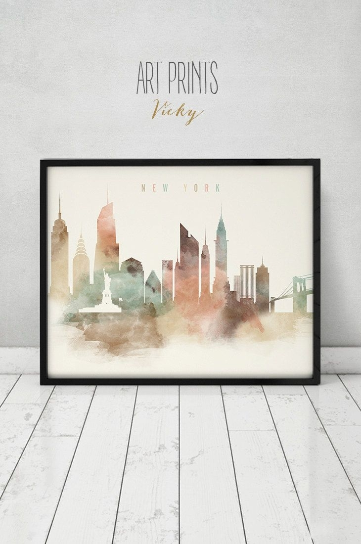 New York Art Print, Watercolor Poster, Nyc, Travel, Cityscape Regarding Most Recently Released New York Wall Art (View 13 of 20)