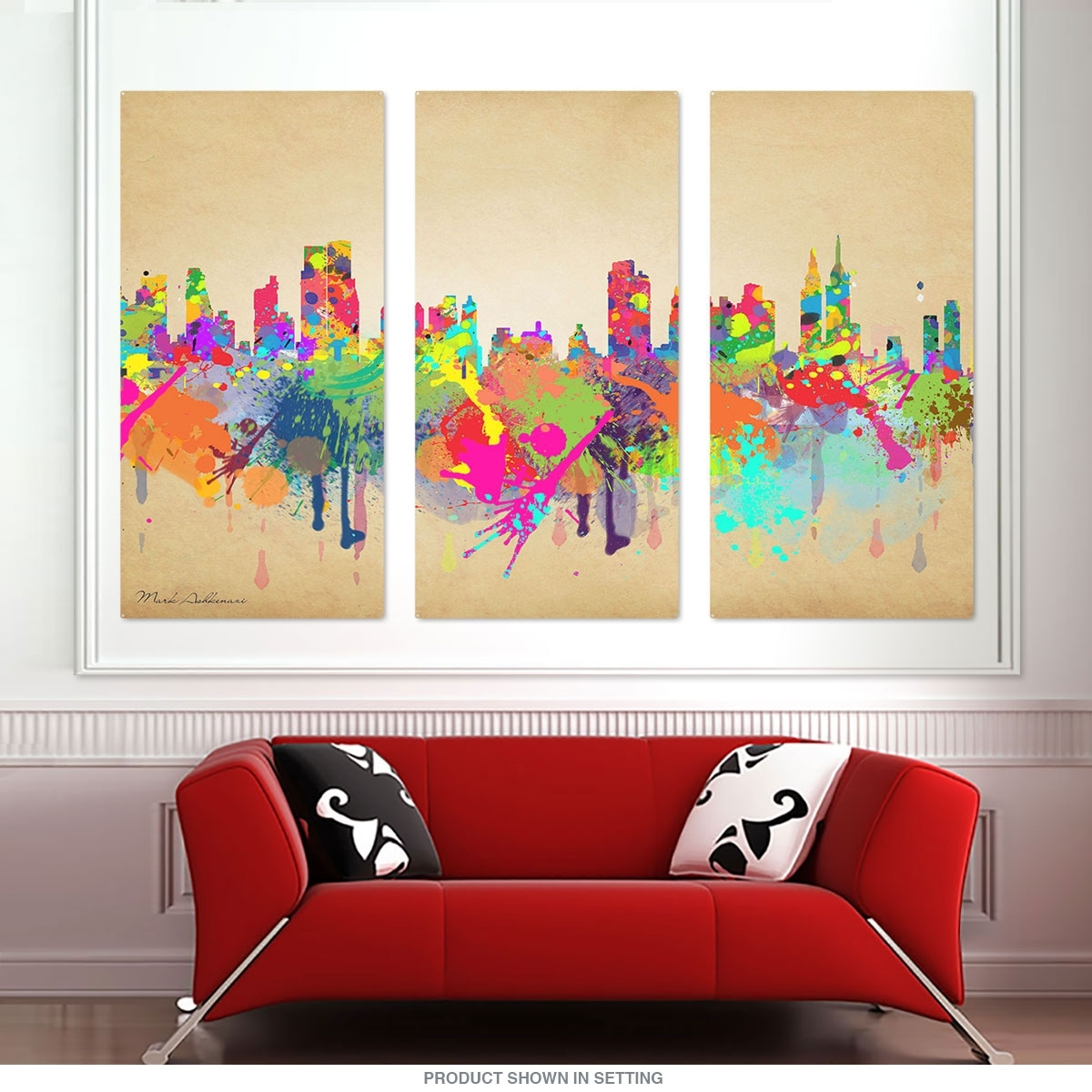 New York City Skyline Paint Splatter Large Metal Signs | Triptych for Most Current Triptych Wall Art
