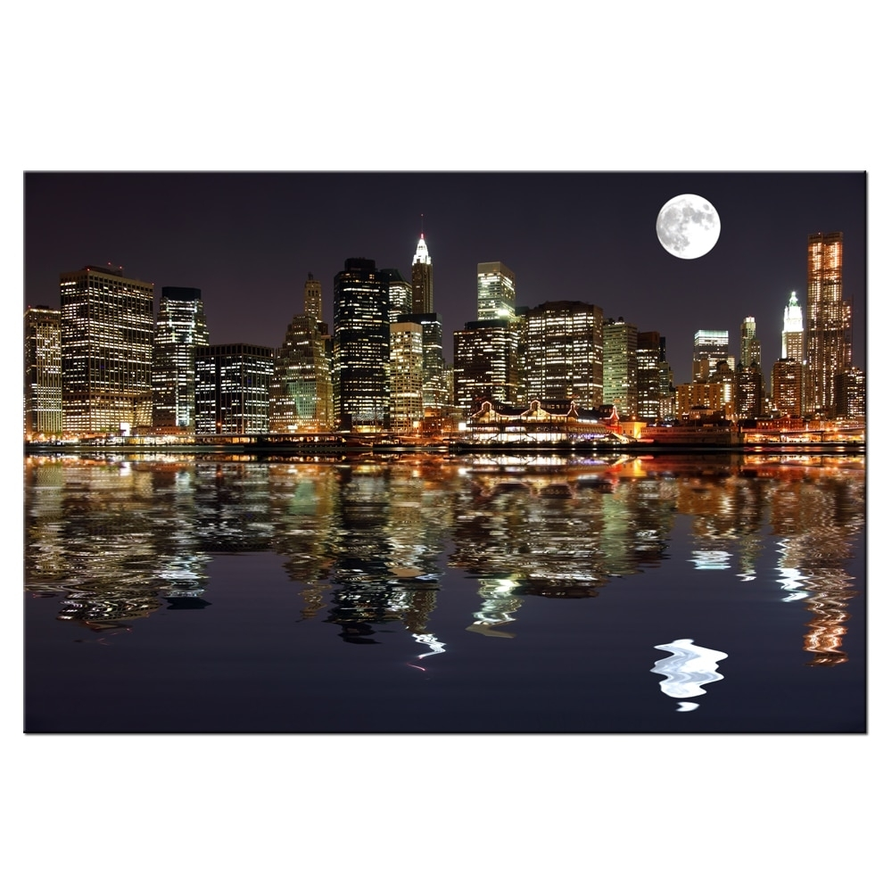 New York Night View Picture Canvas Prints Manhattan Skyline Moon With Regard To Most Recent New York Canvas Wall Art (View 13 of 15)