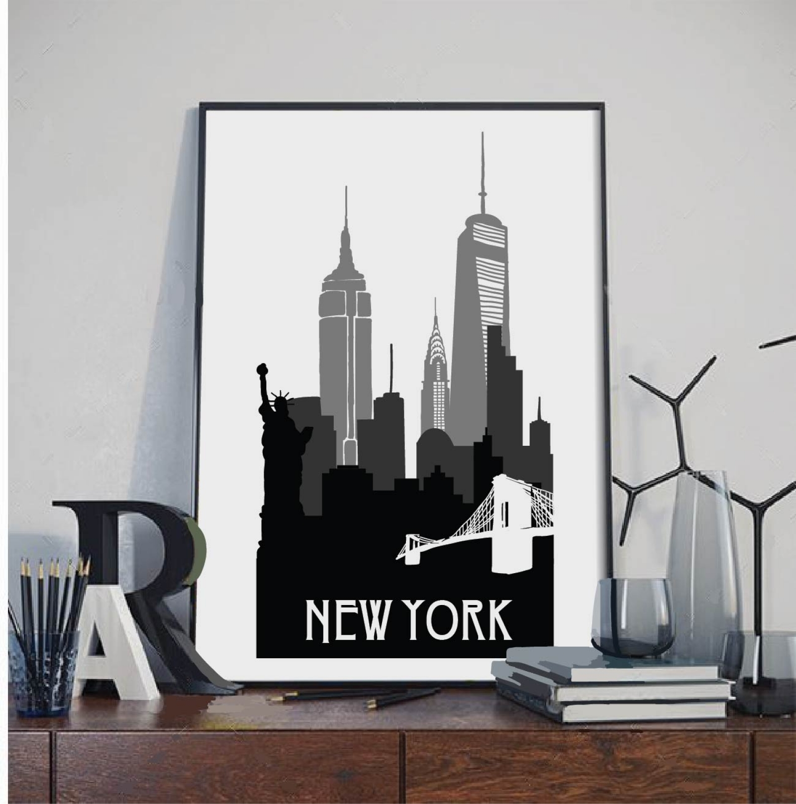 New York Print, New York Silhouette Print, Wall Art,city Poster Pertaining To Most Popular New York Wall Art (View 17 of 20)