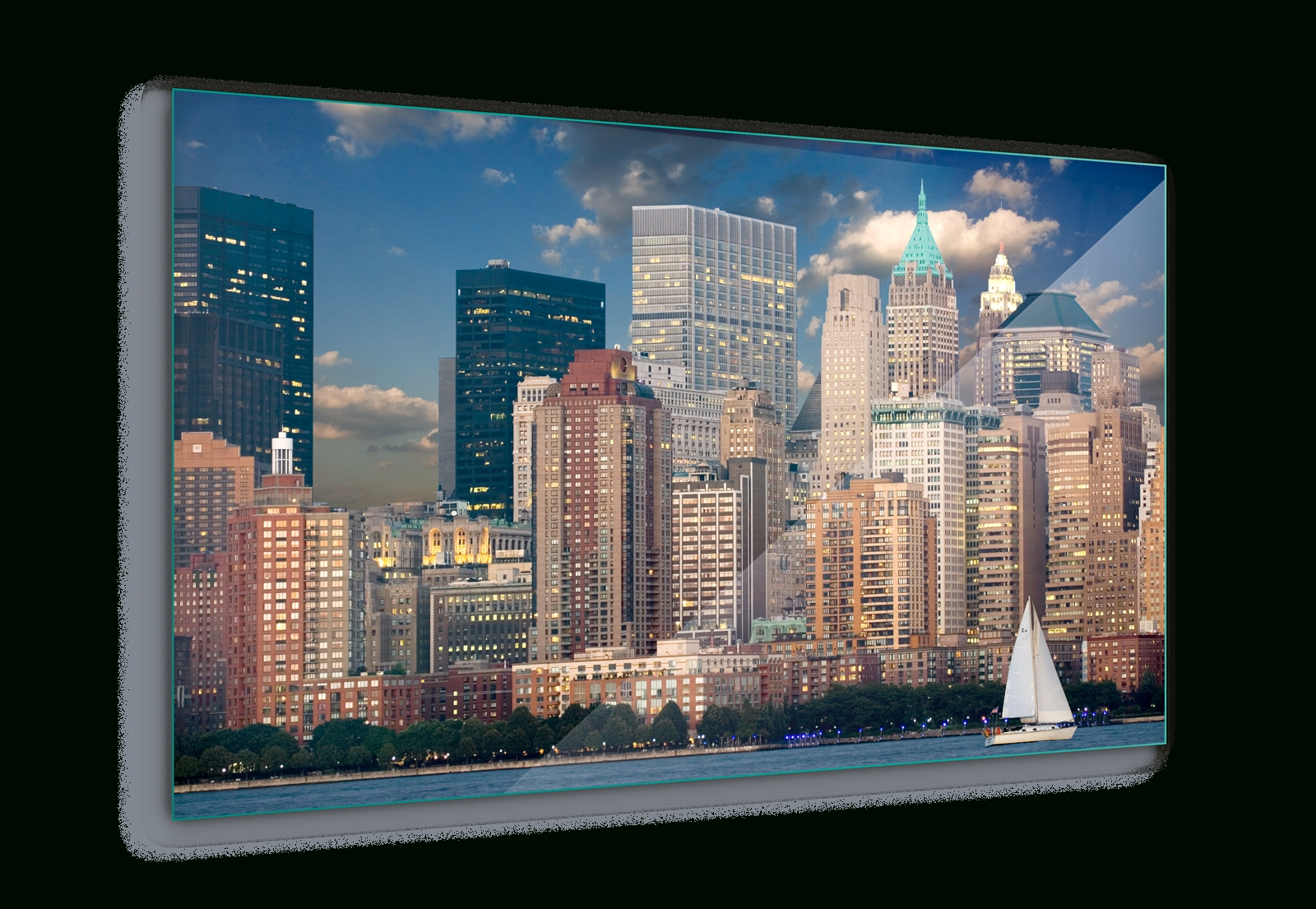 New York Skyline City Canvas & Glass Wall Art Pictures (Fw 1278) | Ebay In Recent New York Wall Art (Gallery 18 of 20)