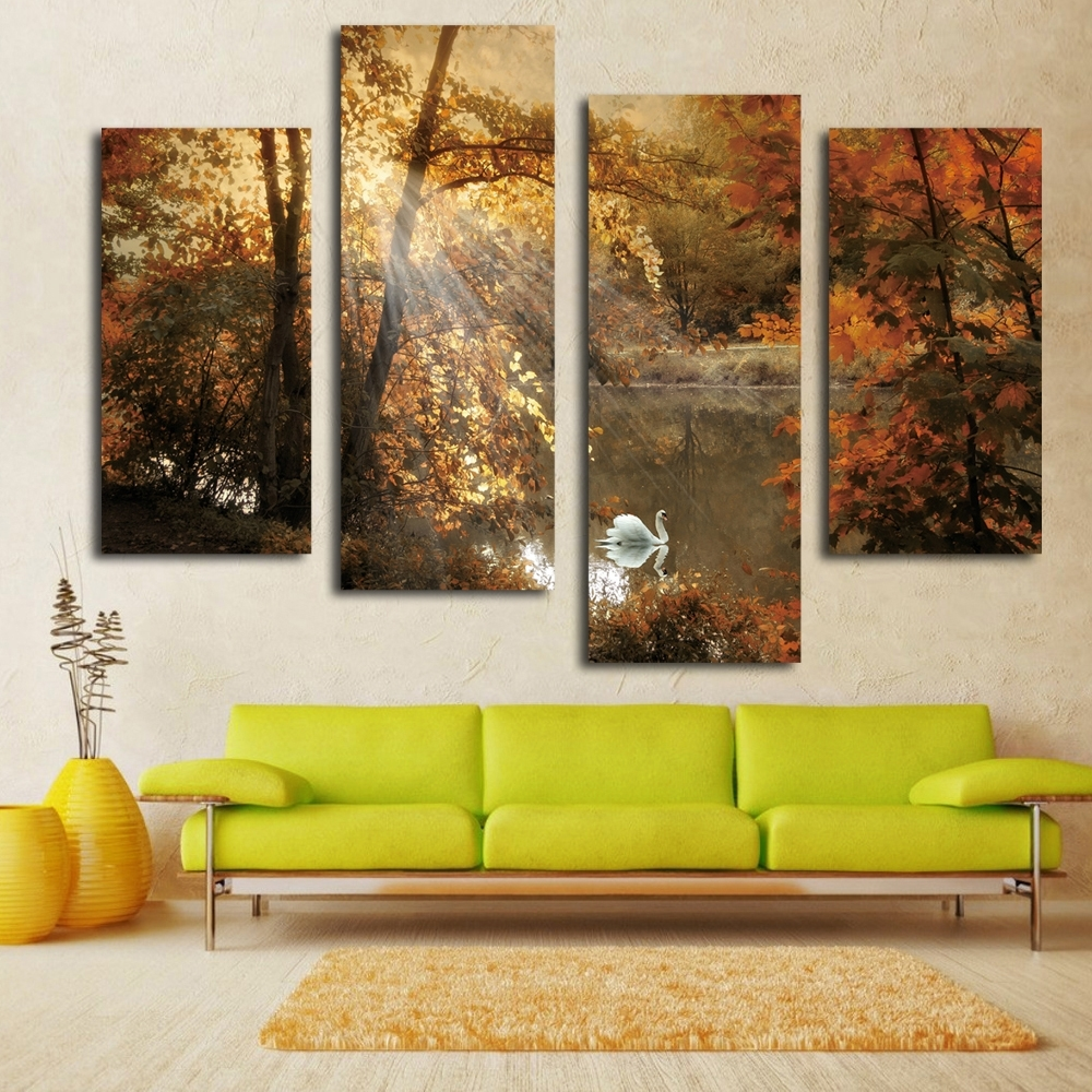 Nice White Swan Painting Fairy Multi Panel Canvas Wall Art Landscape Intended For Current Cheap Canvas Wall Art (View 10 of 15)