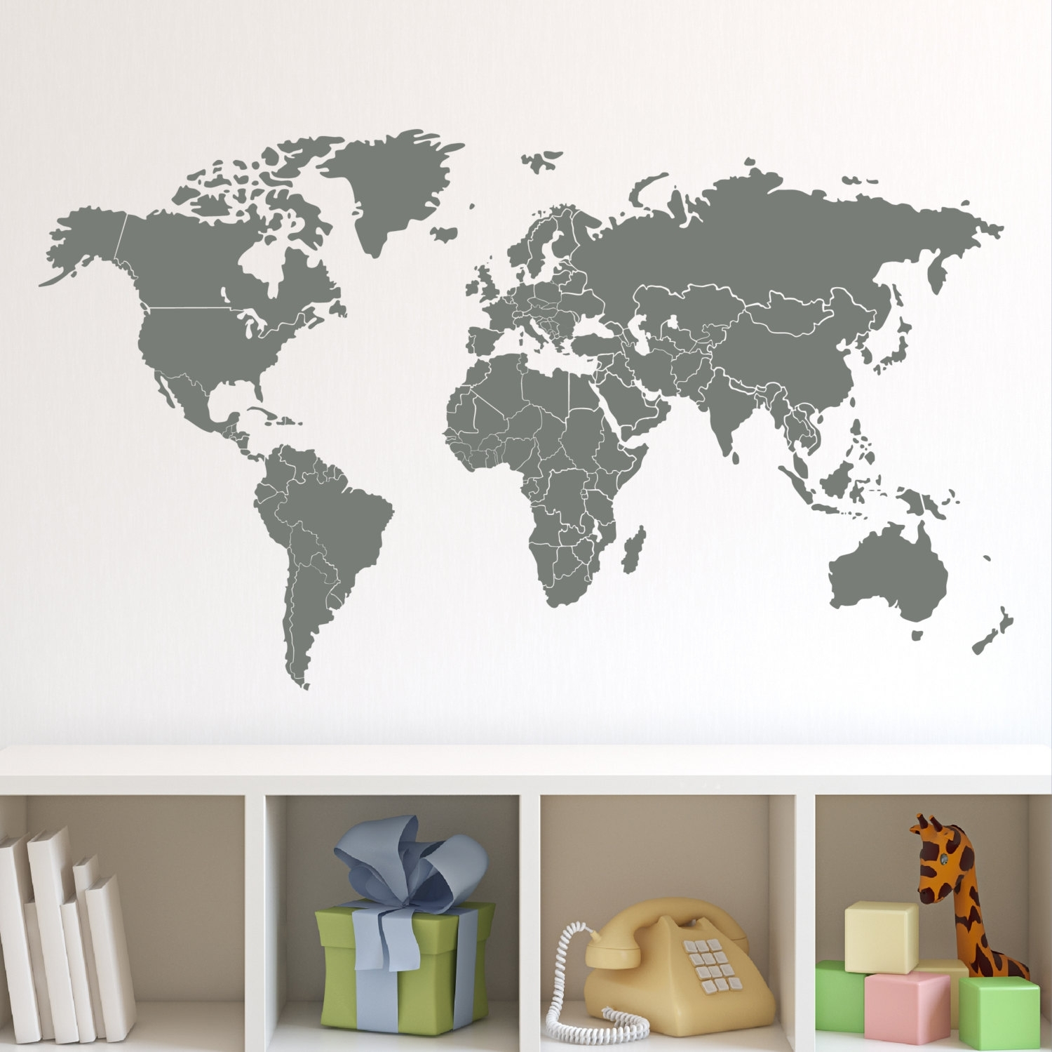 Nice World Map Wall Decals – Home Design #940 With Regard To Current Vinyl Wall Art World Map (View 10 of 20)
