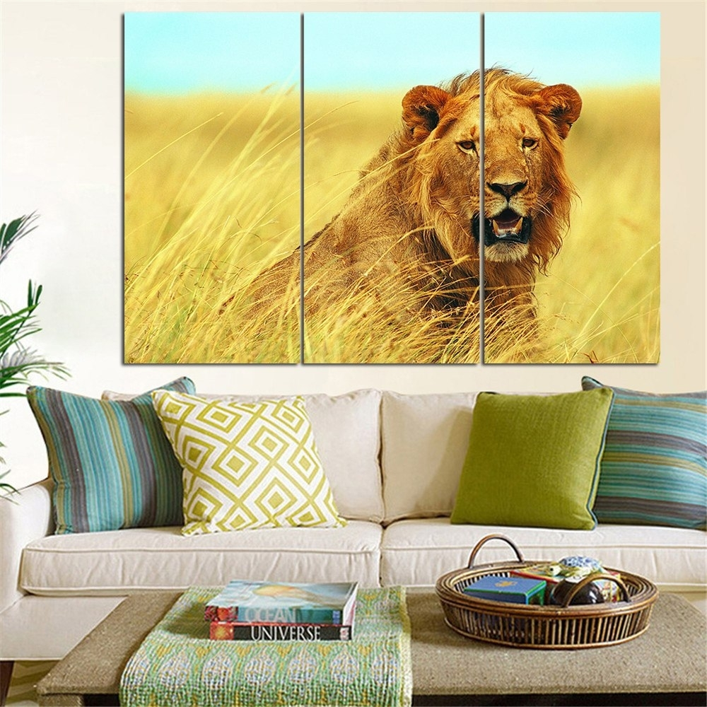 No Frame Animal Oil Painting Lion King Posters Wall Art And Prints within Most Popular Lion King Wall Art