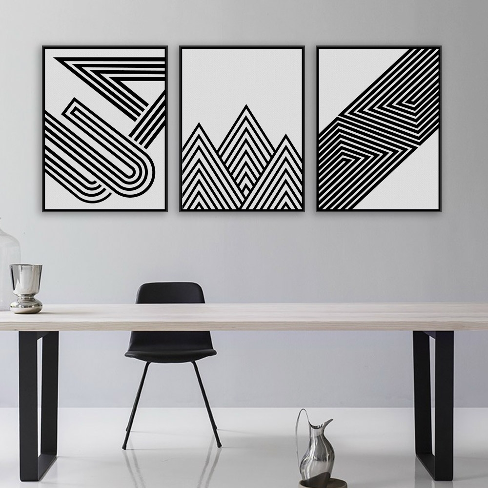 Nordic Black White Minimalist Geometric Shape Art Prints Poster Within Most Recent White Wall Art (View 16 of 20)
