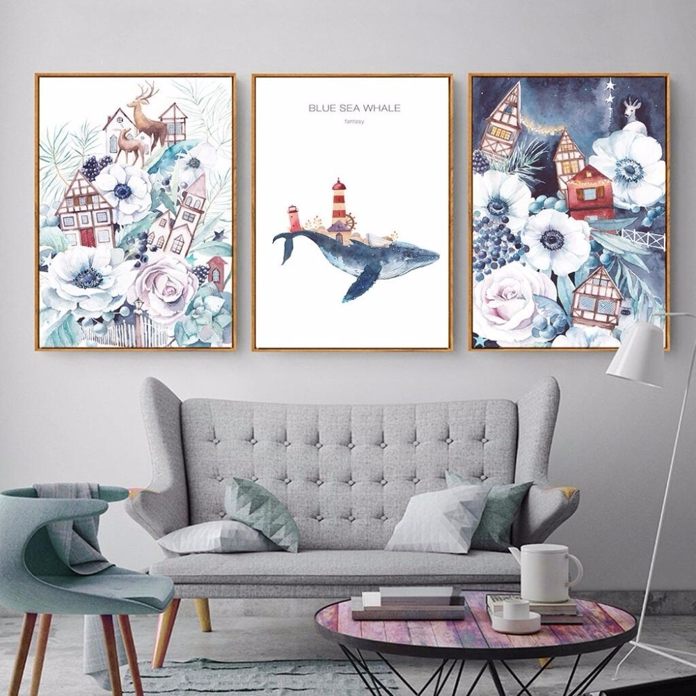Nordic Cartoon Wall Art Animal Canvas Paintings Blue Sea Whale A4 Throughout Most Recently Released Whale Canvas Wall Art (View 14 of 20)
