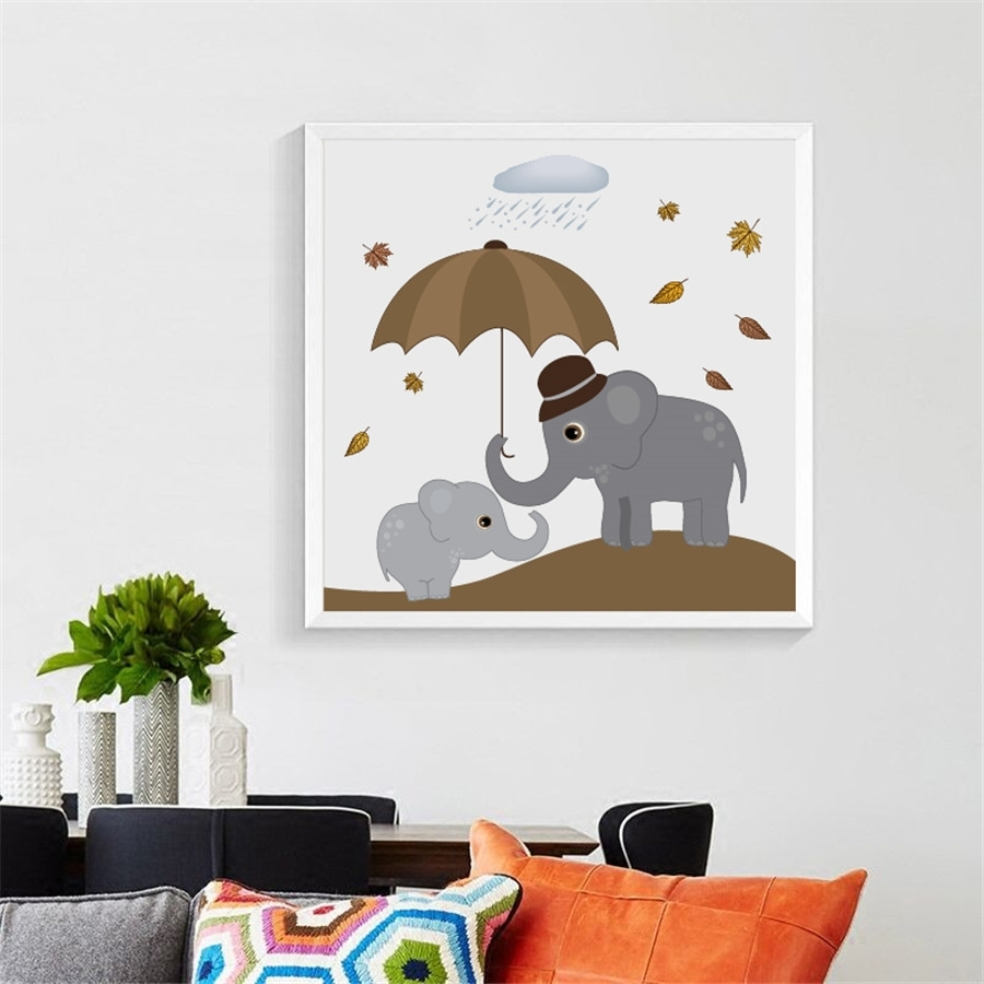 Nordic Elephants Print Wall Art Decor , Cute Cartoon Animal Elephant In Most Up To Date Elephant Wall Art (View 5 of 15)