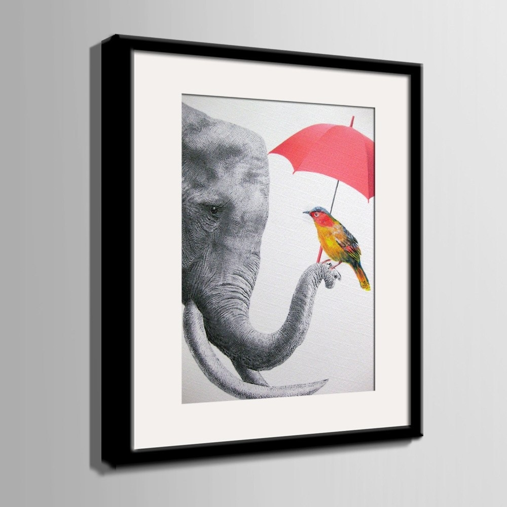 Nordic Style Art Print Framed Canvas Painting Art Elephant And Bird within Current Bird Framed Canvas Wall Art