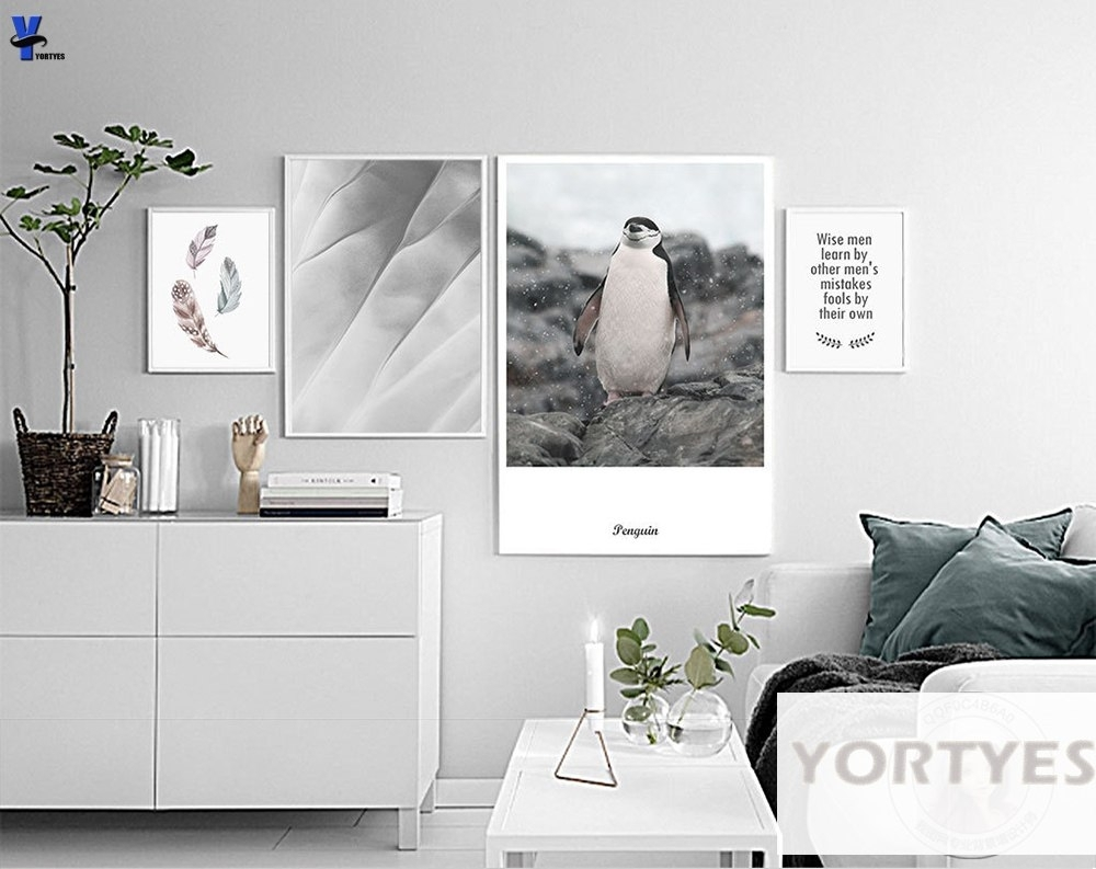 Nordic Style Canvas Prints Wise Men Learnfeathers Penguin Wall Regarding Most Recent Wall Art For Men (View 8 of 15)