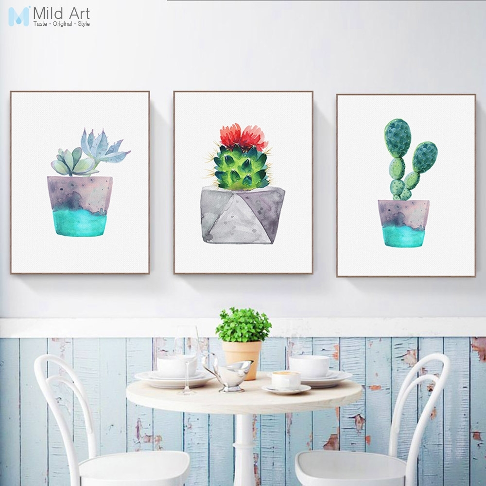 Nordic Watercolor Green Plant Cactus Poster Succulent A4 Modern Wall Pertaining To Recent Cactus Wall Art (View 16 of 20)