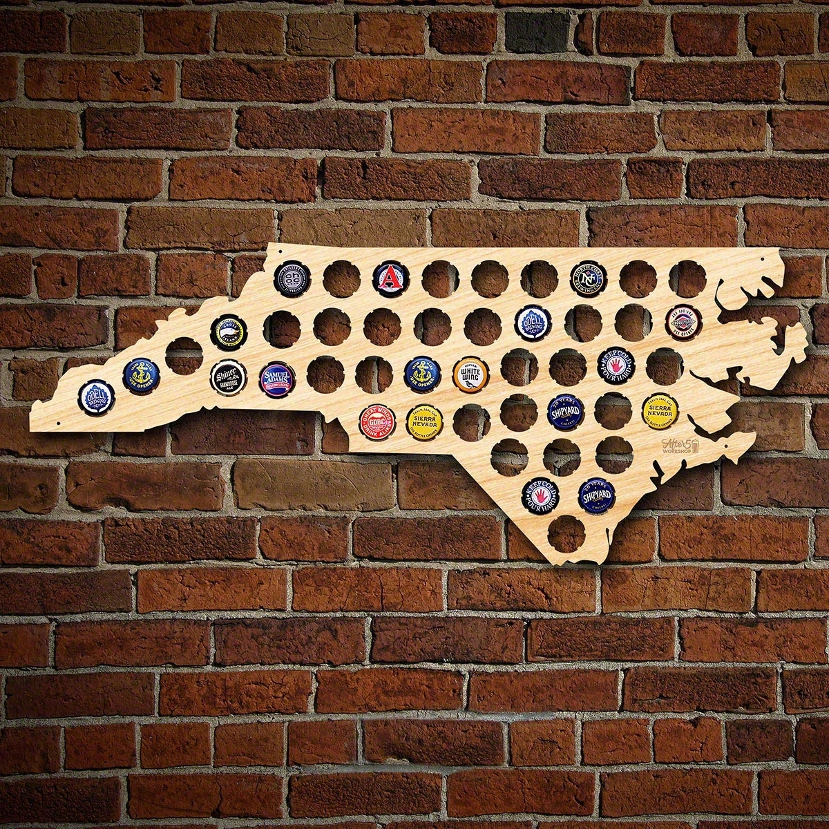 North Carolina Beer Cap Map Intended For Newest North Carolina Wall Art (View 10 of 20)