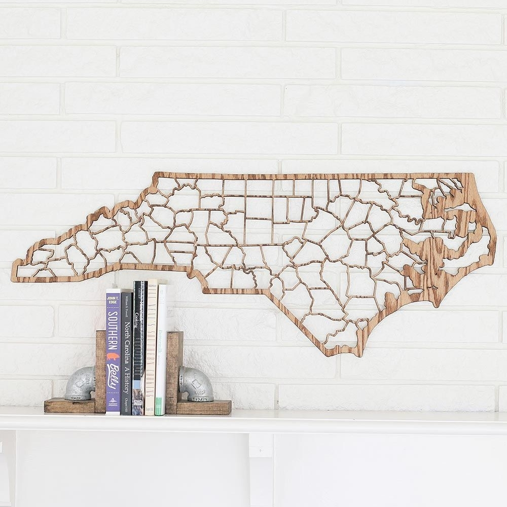 North Carolina County Map Wall Art | Home Decor Father's Day Gift Within Most Recently Released North Carolina Wall Art (View 10 of 20)