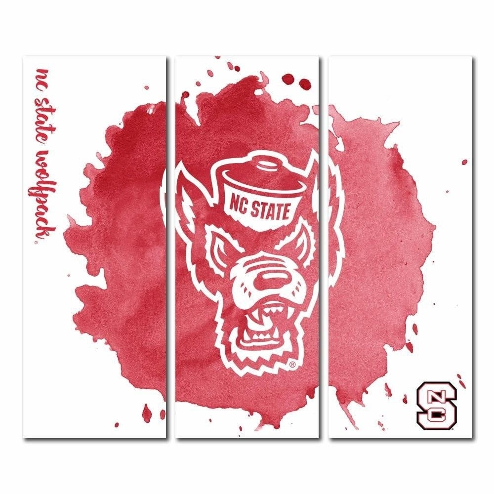 North Carolina State Wolfpack Nc State Triptych Canvas Wall Art With Regard To Most Up To Date North Carolina Wall Art (View 15 of 20)