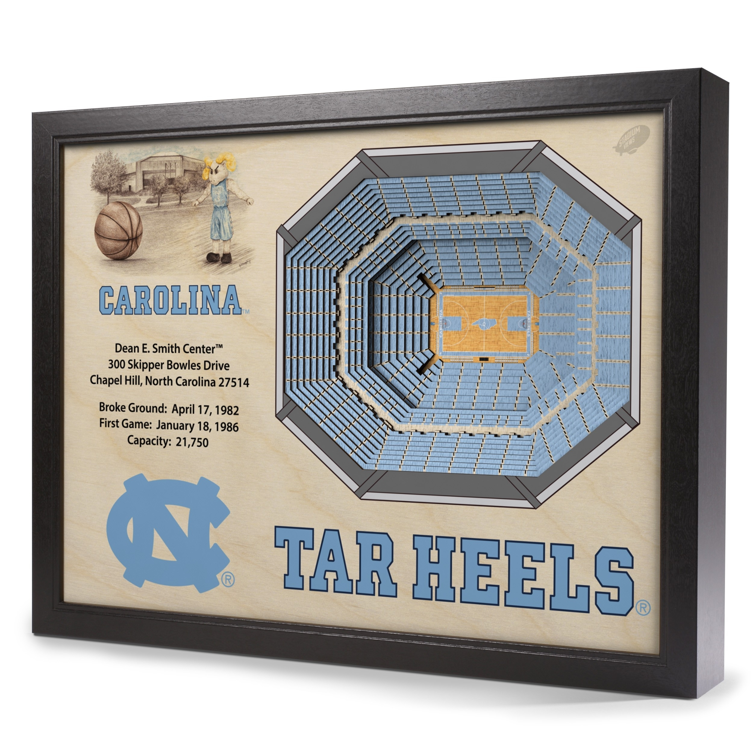North Carolina Tar Heels Stadiumview Wall Art – Dean Smith Center 3 With Regard To Current North Carolina Wall Art (View 12 of 20)