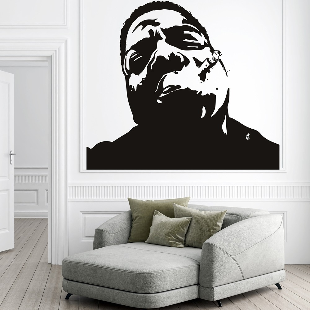 Notorious Big Wall Sticker Rap Music Wall Decal Icon Celebrity Home Inside Newest Wall Art Decals (View 7 of 15)