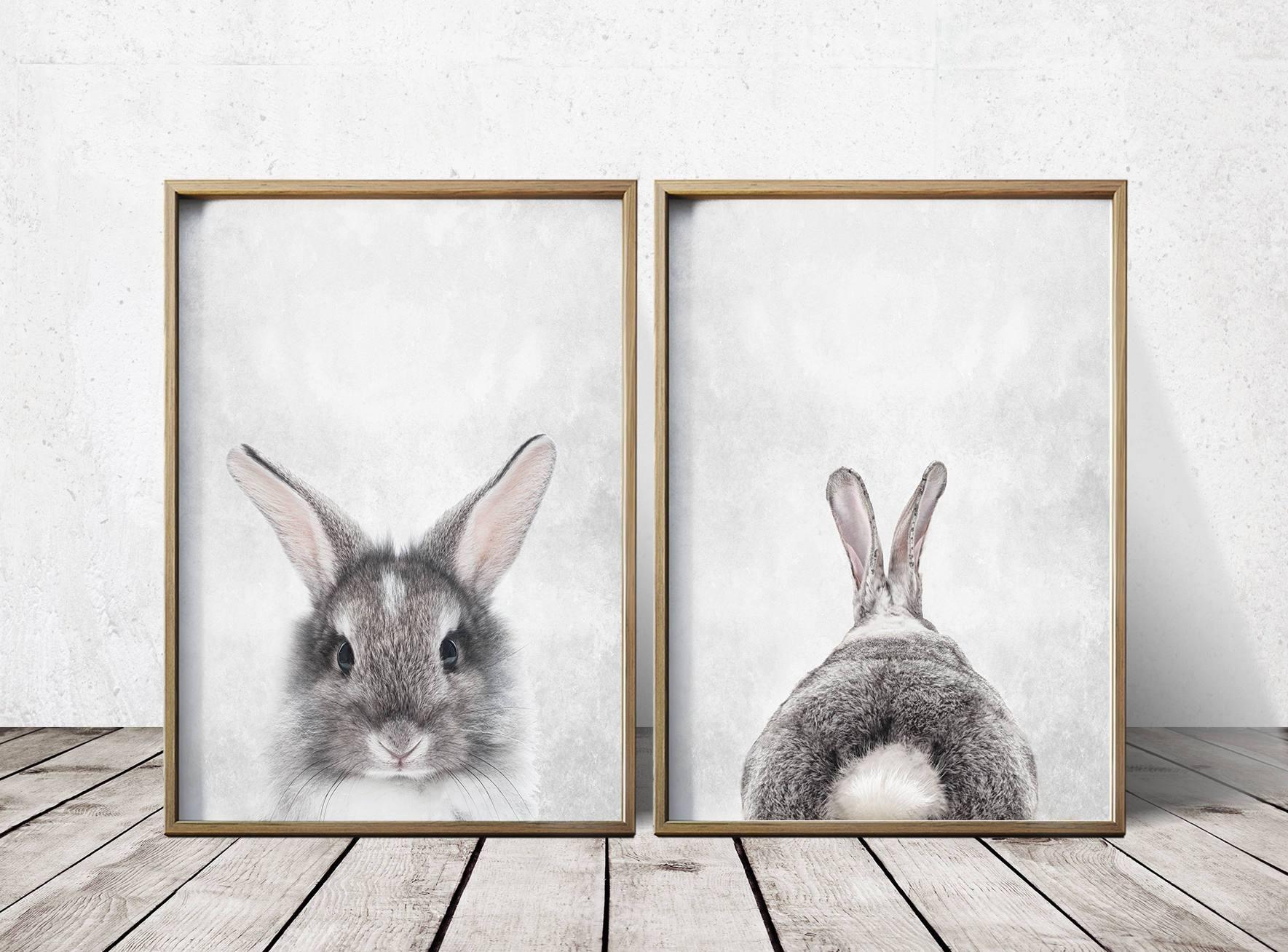 Nursery Wall Art Nursery Decor Gray Rabbit Print Bunny, Vintage Pertaining To 2017 Bunny Wall Art (Gallery 4 of 20)