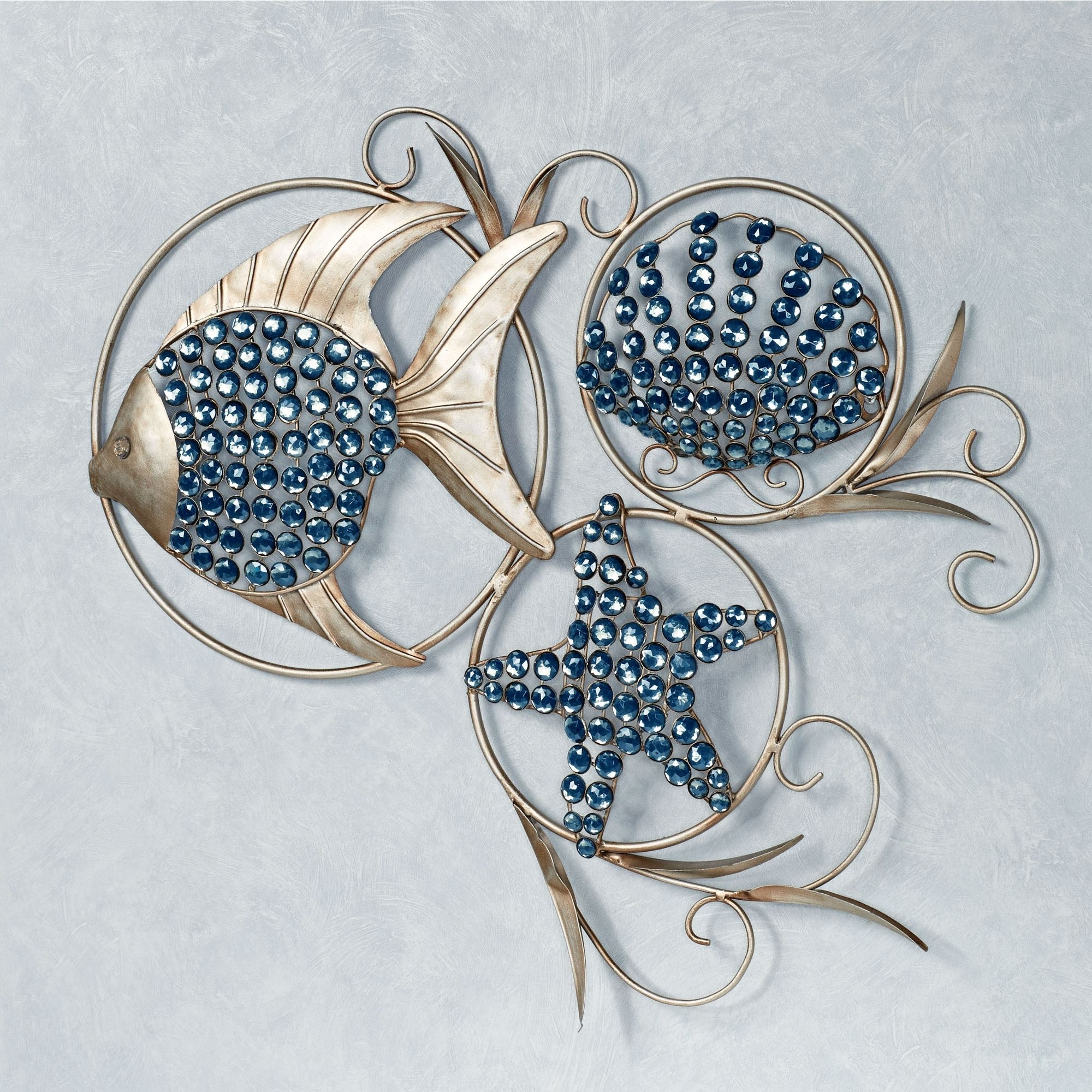 Ocean Gems Fish And Seashell Metal Wall Art with regard to Most Current Wall Art Metal