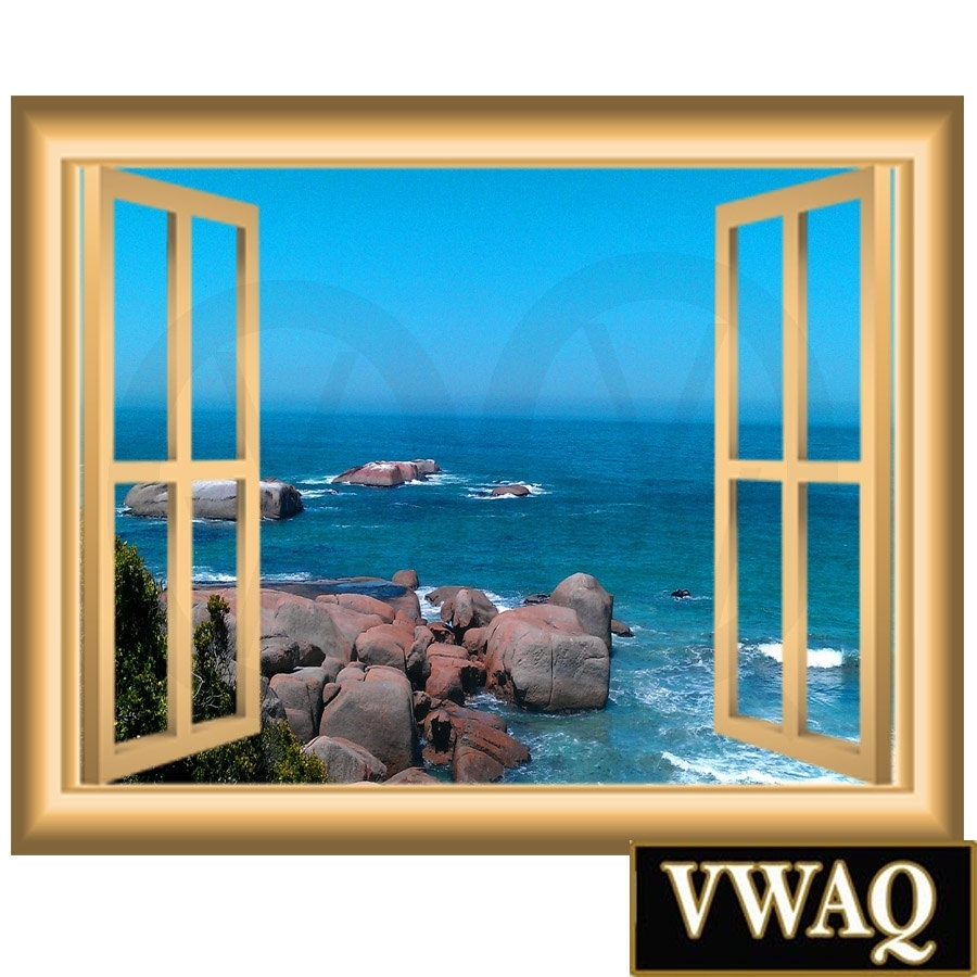 Ocean Scene 3D Window Frame Family Wall Art Vinyl Decal Rocky Beach For Newest Window Frame Wall Art (Gallery 1 of 15)