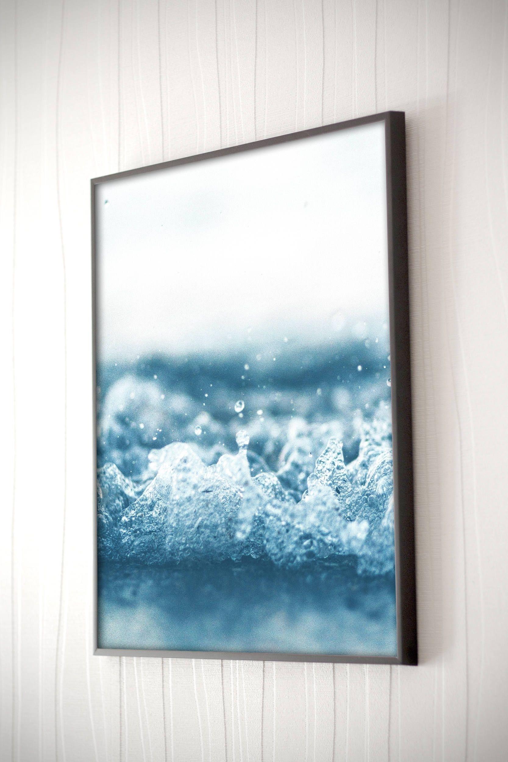 Ocean Wave Printable Blue Ocean Wall Art Coastal Wall Art Beach Wave for Most Recent Ocean Wall Art