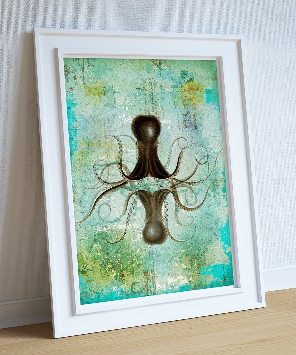 Octopus Art Print Sea Squid Vintage Nautical Decor Ocean Wall Art For Most Popular Octopus Wall Art (View 10 of 20)