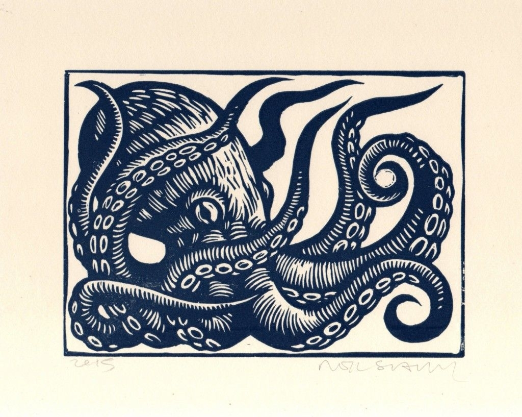 Octopus Linocut Art Print, Octopus Wall Art, Octopus Linoleum Block Intended For Newest Octopus Wall Art (View 12 of 20)