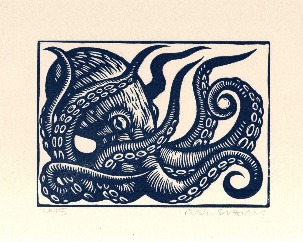 Octopus Linocut Art Print, Octopus Wall Art, Octopus Linoleum Block Intended For Newest Octopus Wall Art (View 13 of 20)