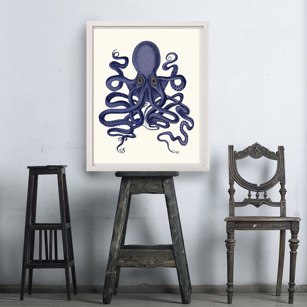 Octopus Print Blue 9- Octopus Wall Art Octopus Poster Octopus within Most Popular Octopus Wall Art