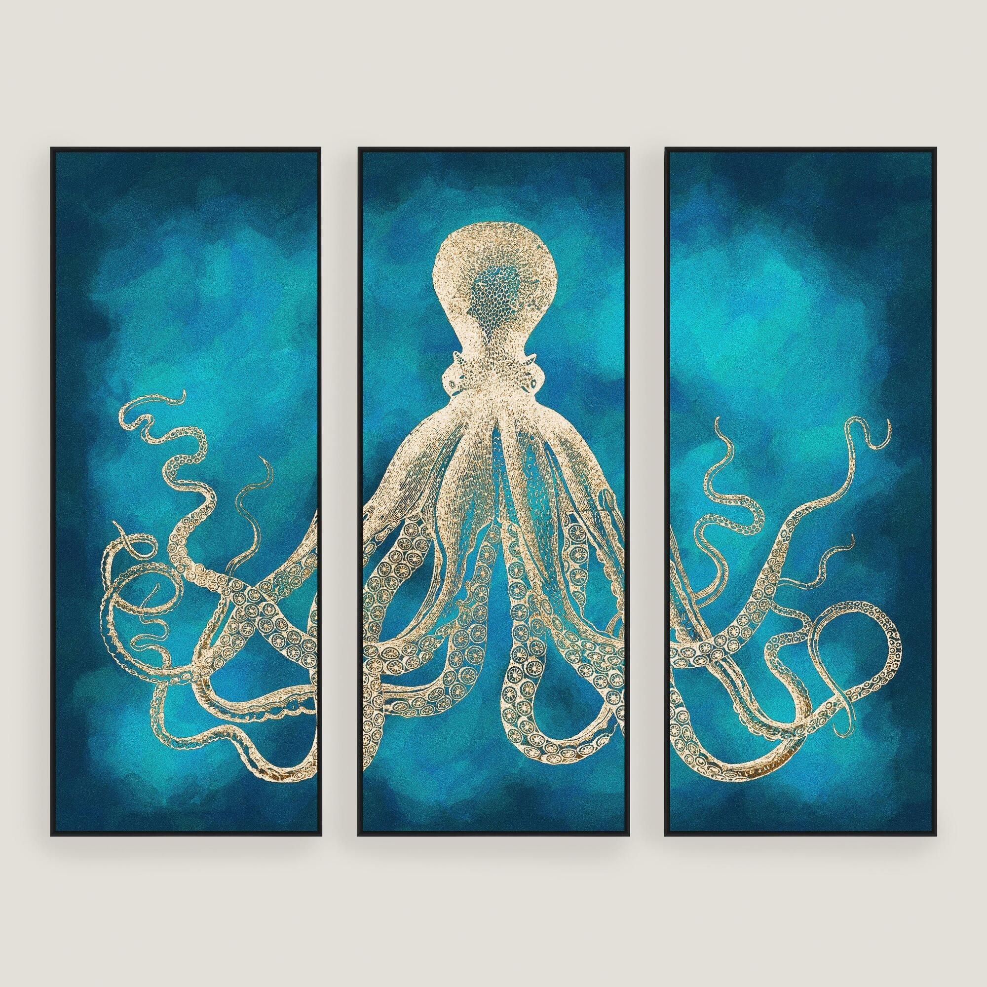 Octopus Sea Life Wall Art 3 Piece: Blueworld Market | Products Inside Most Current Octopus Wall Art (View 11 of 20)