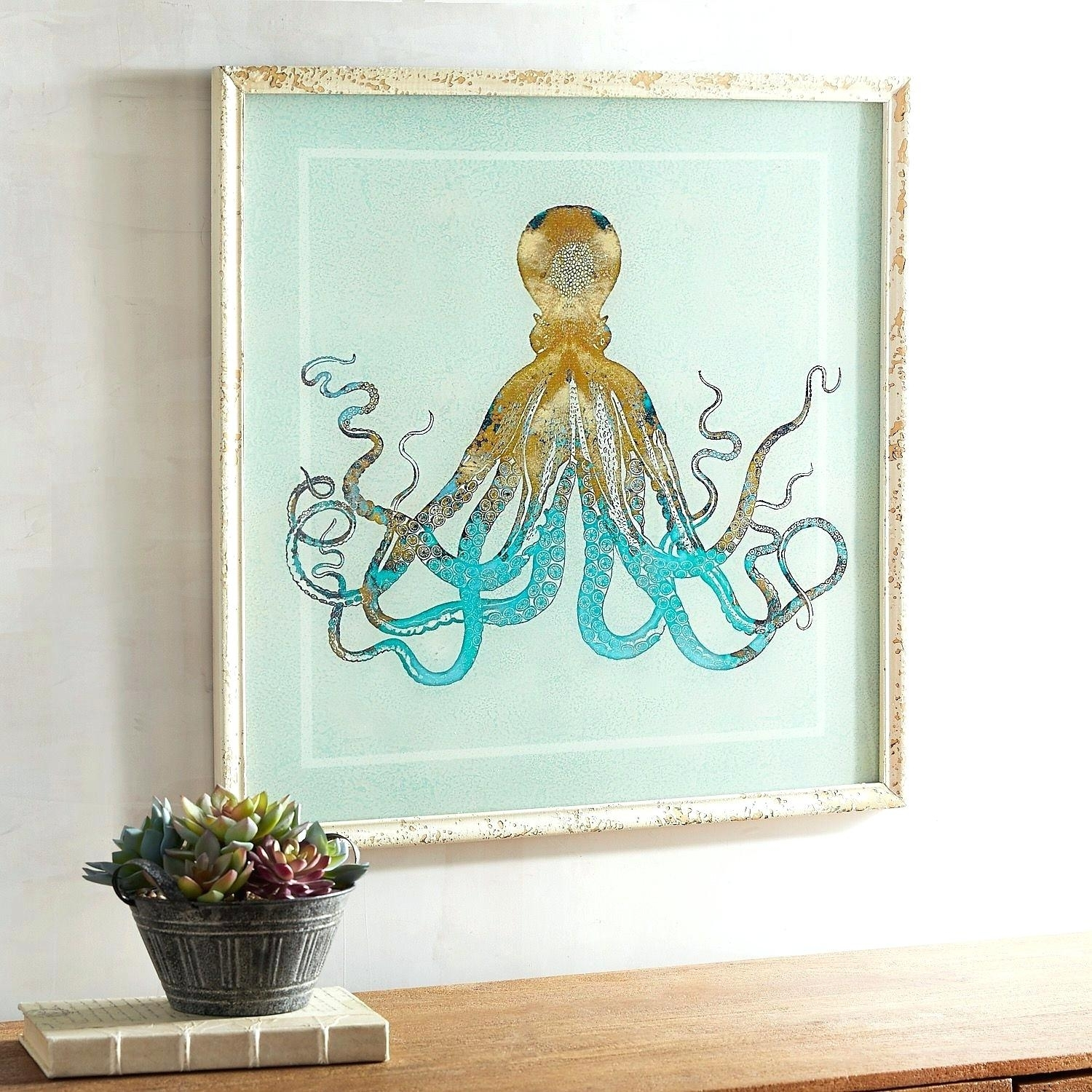Octopus Wall Art Bathroom Blue Splash Octopus Wall Art Octopus Art Intended For Most Current Octopus Wall Art (View 16 of 20)