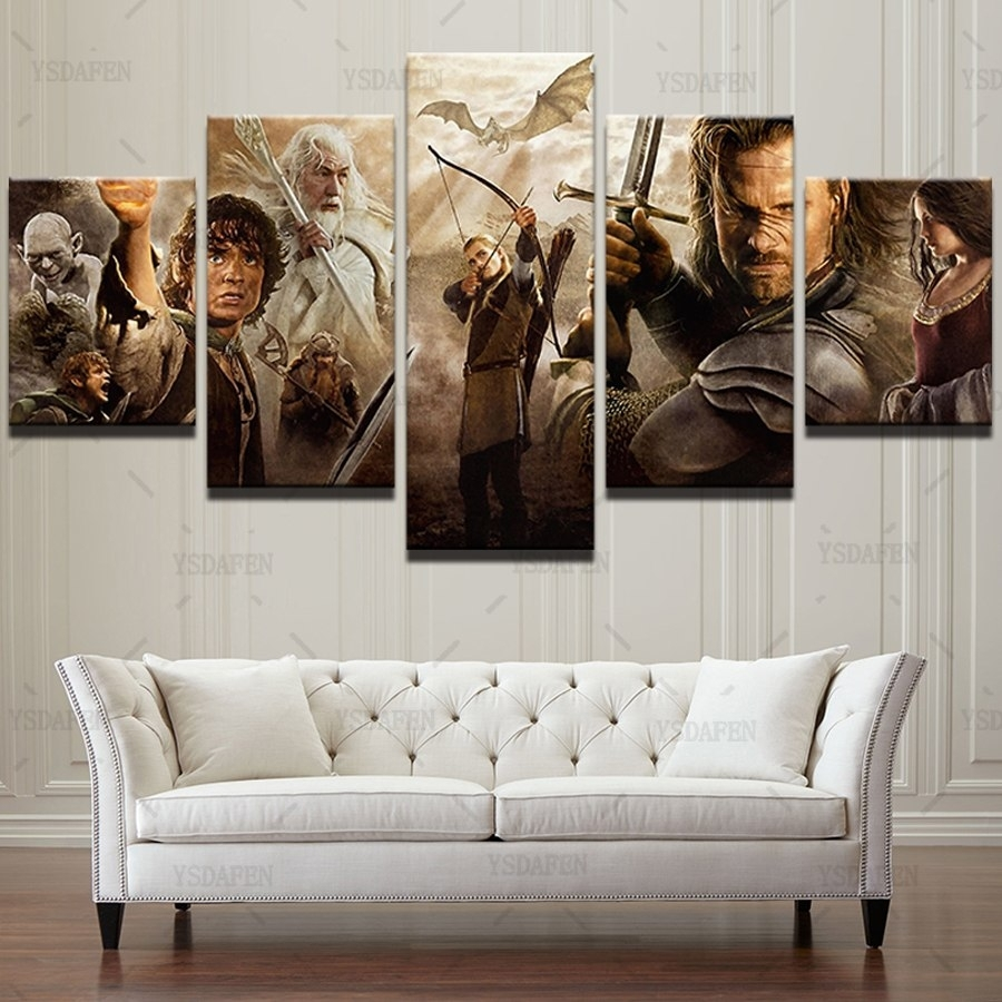 Oil Canvas Wall Art 5 Panel Lord Of The Rings Movie Characters Pertaining To Most Current Lord Of The Rings Wall Art (View 8 of 20)