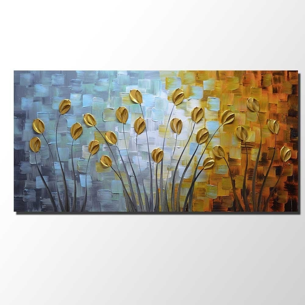 Oil Paintings On Canvas Budding Flowers Artwork 100% Hand Painted Throughout Latest Floral Wall Art (View 15 of 20)