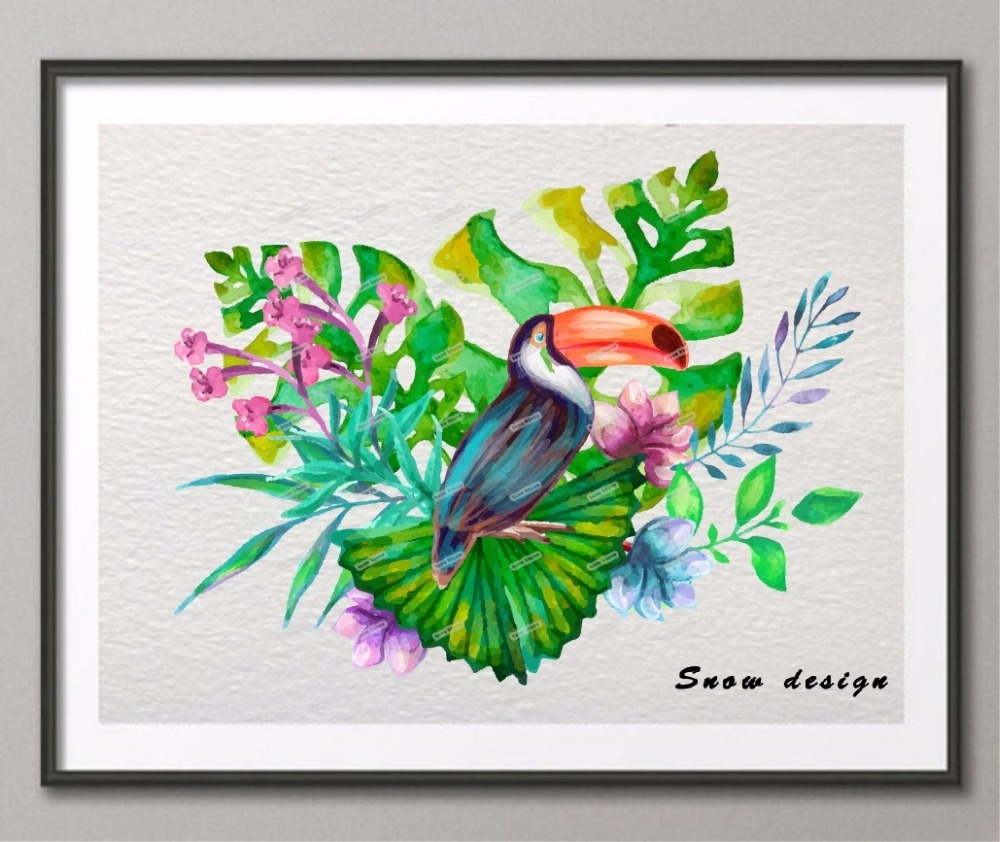 Oiseau Tropical Original Aquarelle Wall Art Toile Peinture Oiseau With Regard To Most Popular Tropical Wall Art (View 8 of 20)