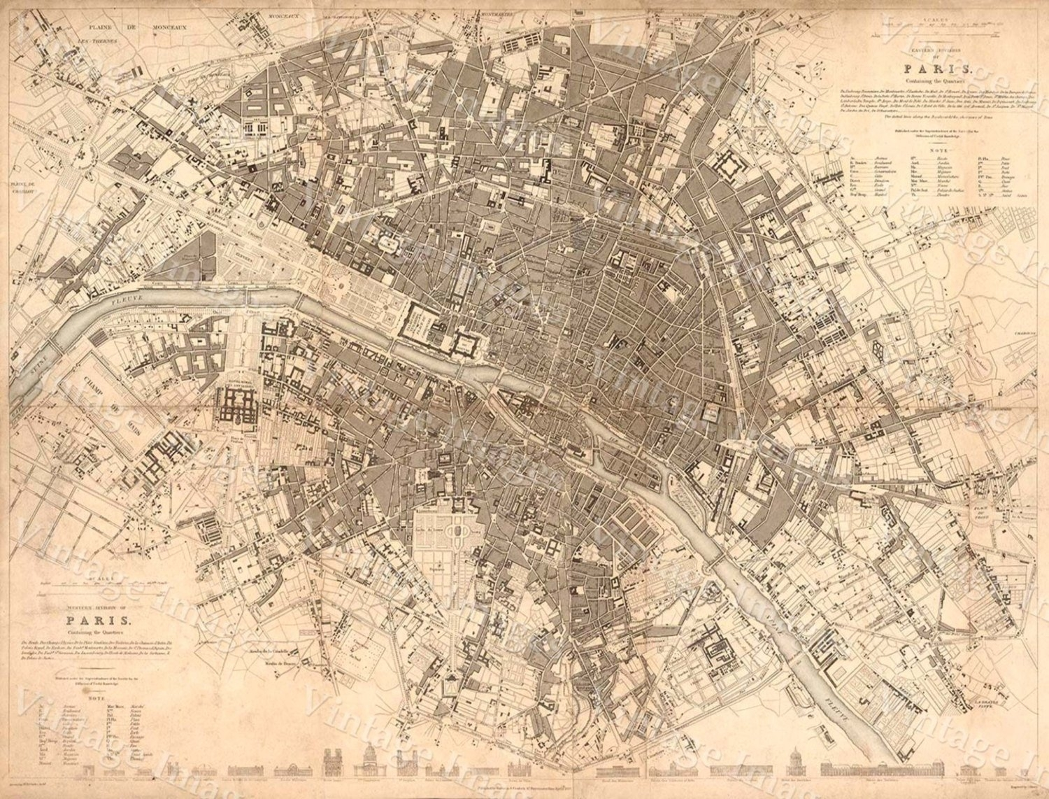 Old Paris Map, 1834 Giant Restoration Decorator Style Map Paris Wall Throughout Latest Map Of Paris Wall Art (View 14 of 20)