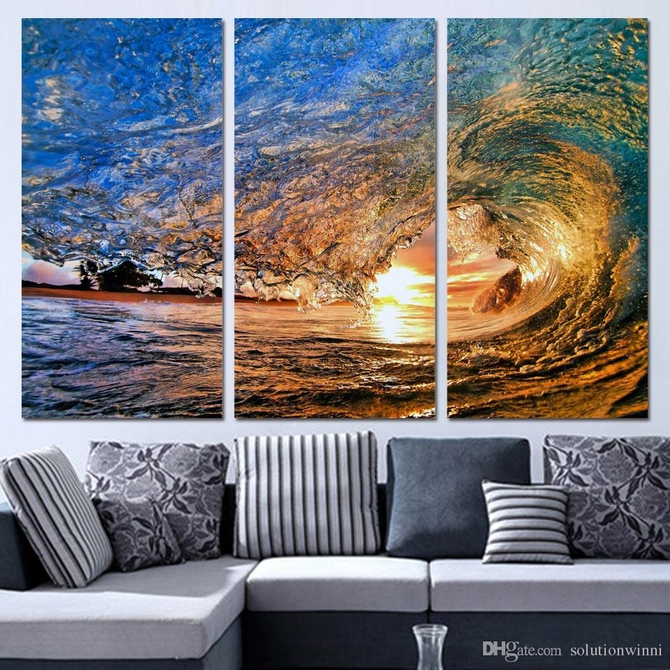 Online Cheap 3 Panels Canvas Art Sea Huge Waves Sunset Home Decor Inside Best And Newest Cheap Oversized Canvas Wall Art (Gallery 10 of 20)