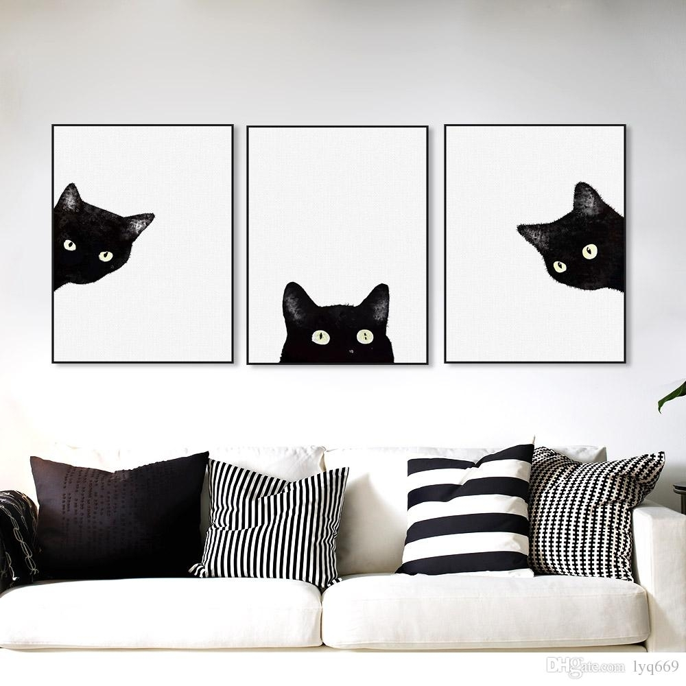 Online Cheap Black Cats Head Modern Cute Animal Canvas A4 Print Pertaining To Recent Cat Canvas Wall Art (Gallery 4 of 20)