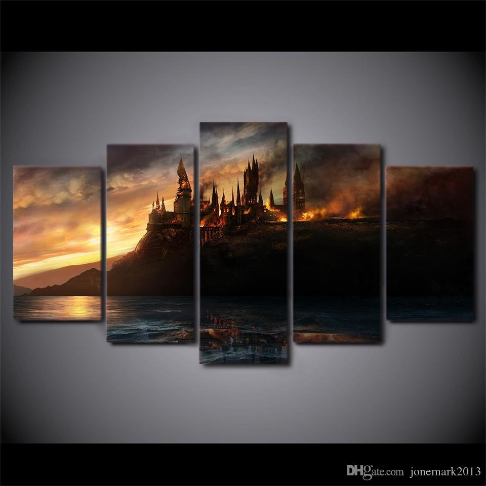 Online Cheap Canvas Art Harry Potter Castle Printed Wall Art Home inside Most Recent Cheap Canvas Wall Art