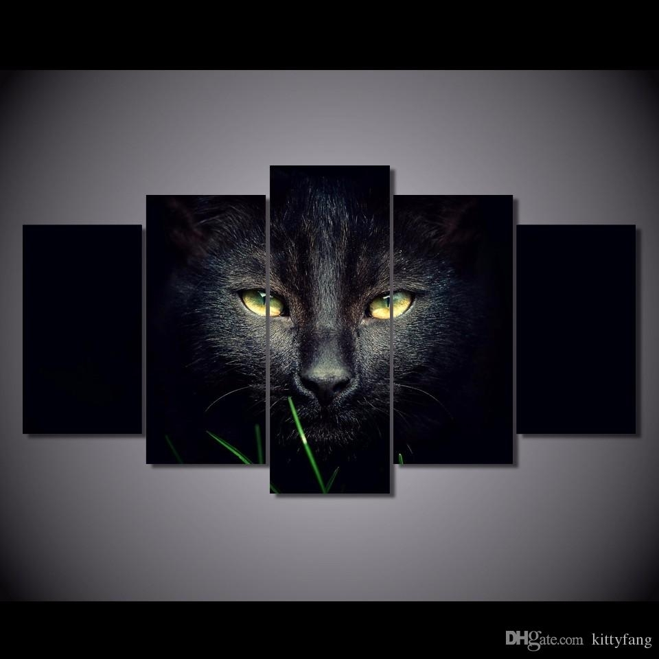 Online Cheap Framed Hd Printed Black Cat Animal Wall Art Canvas For Most Up To Date Cat Canvas Wall Art (View 15 of 20)