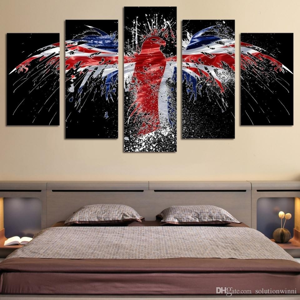 Online Cheap Framed Hd Printed Flag Bird Logo Eagle Wall Art Canvas With Newest Bird Framed Canvas Wall Art (View 14 of 20)