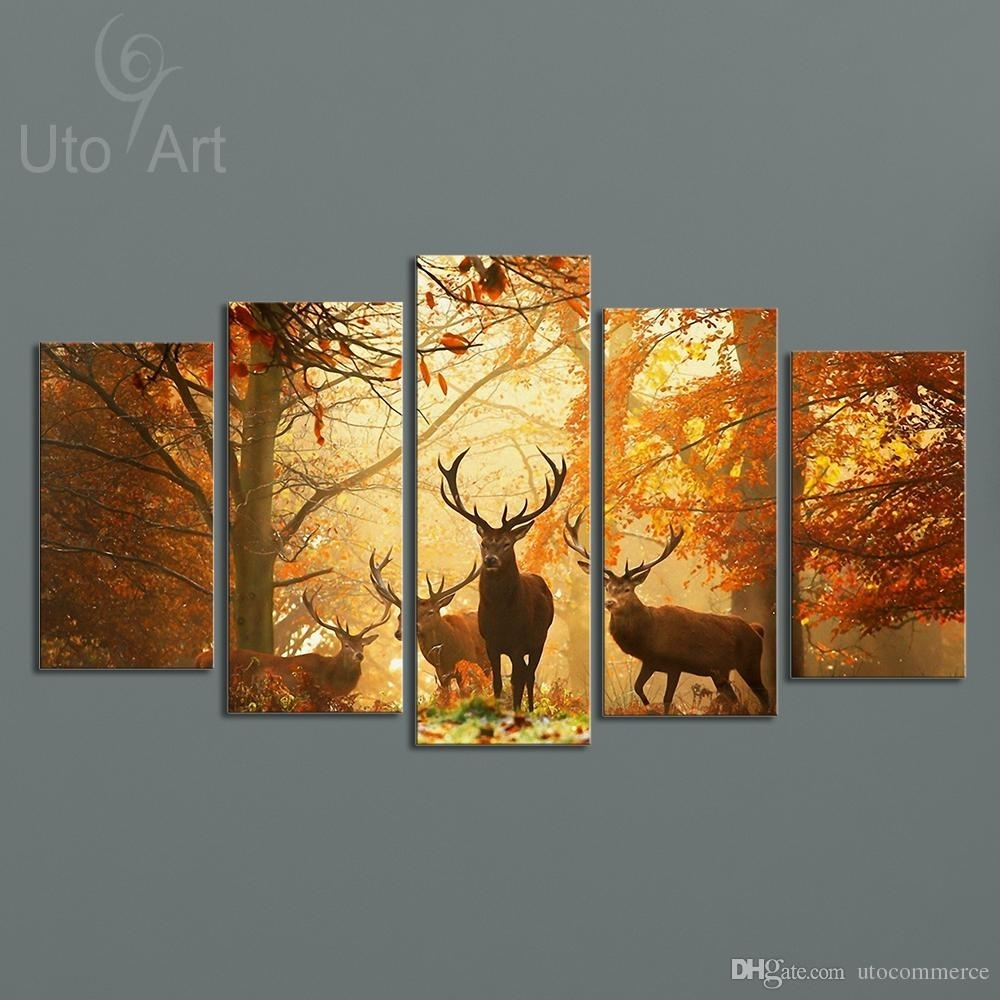 Online Cheap Modern Digital Picture Print On Canvas Animal Deer In Current Custom Wall Art (View 2 of 20)