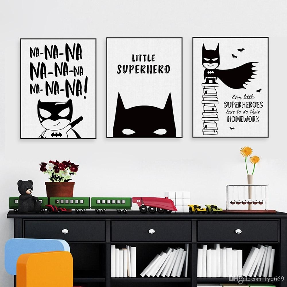 Online Cheap Nordic Black White Superhero Batman Hippie Quote Poster Throughout Most Up To Date Batman Wall Art (View 18 of 20)